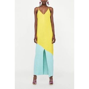 Zara yellow green maxi dress NWT